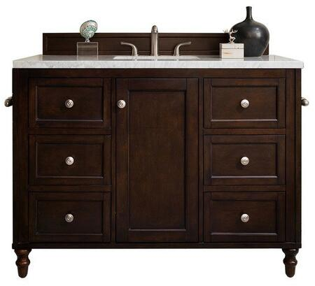 Copper Cove Encore Collection 301-V48-BNM-3CLW 48″ Single Vanity  Burnished Mahogany  with 3 CM Classic White Quartz Top with