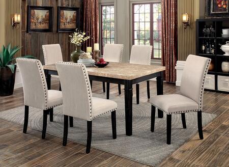 Furniture of America Dodson I CM3466T6SC Dining Room Set Black, main image