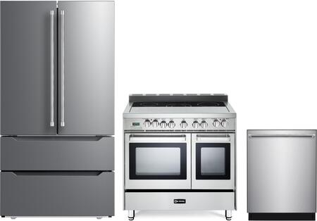 3 Piece Kitchen Appliances Package with VERF36CDSS 36″ French Door Refrigerator  VEFSEE365DSS 36″ Electric Range  and VEDW24TSS 24″ Built In