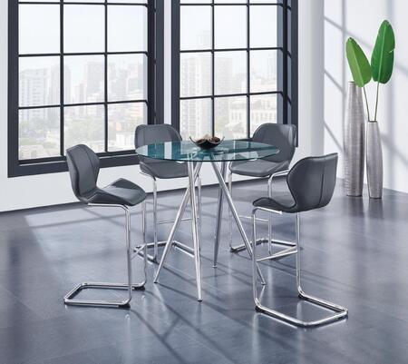 Global Furniture USA D1503 D1503BT4D1446BSGR Bar Table Set Gray, Main Image
