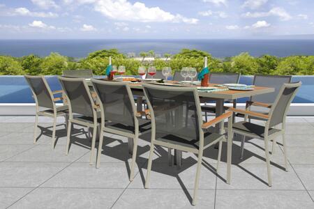 Fine Line Essence Collection GR01411SGB2048T 11 Piece Outdoor Dining Set with Cosmopolitan Teak Extension Table  Teak Wood Armrest  Umbrella Hole