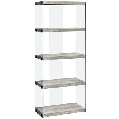 333539 24″ Bookcase with 4 Fixed Clear Tempered Glass Shelves  Clear Glass Side Panels  Laminated and Particle Board Construction in Gray