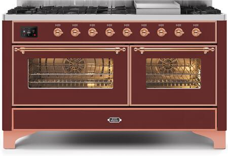 Ilve Majestic II UM15FDNS3BUP Freestanding Dual Fuel Range Red, UM15FDNS3BUPNG-Front-CD-A