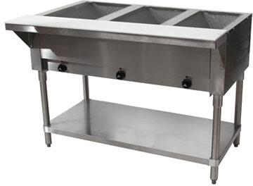 Advance Tabco  HF3GLPX Commercial Banquet Cart and Heated Banquet Cabinet Stainless Steel, 3 Well Hot Food Table