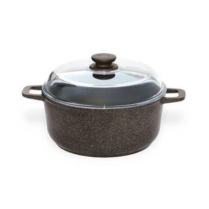 Biol J187473 Cookware, kastryulya litaya s alyuminievymi ruchkami i steklyannoj kryshkoj