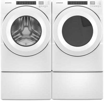 Front Load White Laundry Pair with NFW5800HW 27″ Front Load Washer  NGD5800HW 27″ Gas Dryer and Two WFP2715HW