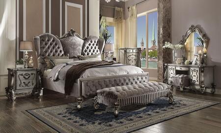 Acme Furniture Versailles 26820Q7SET Bedroom Set Silver, Bedroom Set