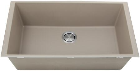 PR3320-TR-UM Plymouth Collection 33″ Undermount Sink with Single Bowl  Rectangular Shape  Sound Absorption  Stain Resistant and Granite Composite