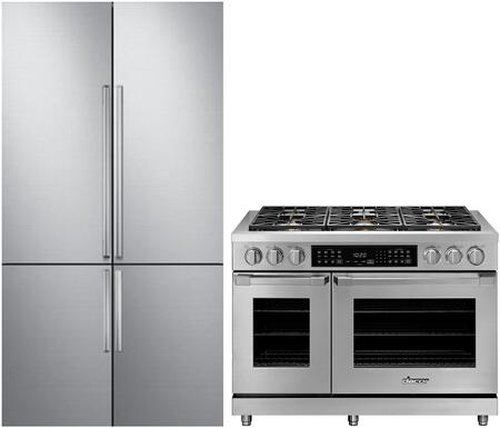 2 Piece Kitchen Appliances Package with DRF427500AP 42″ French Door Refrigerator and HDER48SNG 48″ Gas Range in Stainless