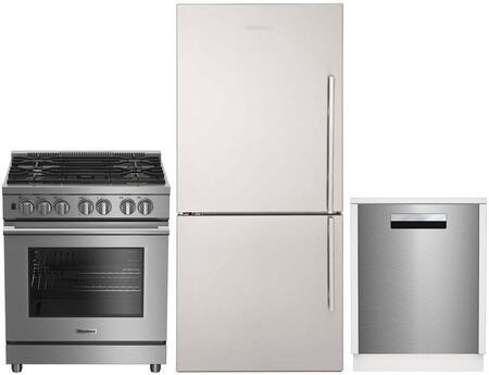 "3 Piece Kitchen Appliances Package with BRFB1812SSLN 30"" Counter Depth Bottom Freezer Refrigerator BDFP34550SS 30"" Freestanding Dual Fuel Range and"