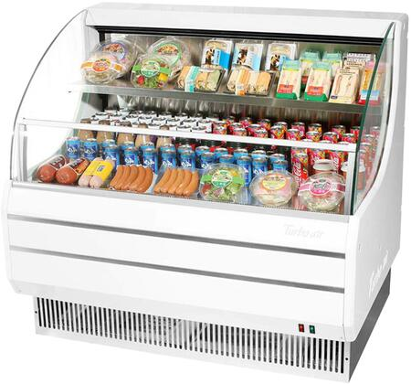 Turbo Air TOM50LWN Display and Merchandising Refrigerator White, TOM50LWN Angled View