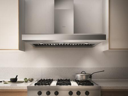 EVV648S1 48″ Pro Series Vavano Wall Mount Range Hood with 600 CFM  Hush System  LED Lighting  Stainless Steel Baffle Filters and Heat Guard in