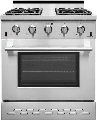 SC3055LP 30″ Stainless Steel Freestanding Liquid Propane Range with 4.5 cu. ft. Capacity  4 Burners  Black Porcelain Drip Pan and Cast Iron