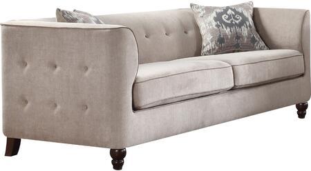 Acme Furniture Cyndi 52055 Stationary Sofa Beige, 1