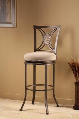 4897-830 Rowan 45 Fabric Upholstered Swivel Bar Stool with Metal Classic Design Frame in Silver