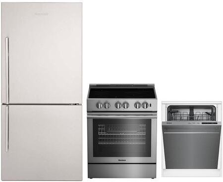 """3-Piece Kitchen Appliances Package with BRFB1812SSN 30"""" Bottom Freezer Refrigerator BIRP34450SS 30"""" Electric Range and DWT51600SS 24"""" Built In Fully"""