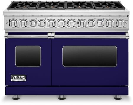Viking 7 Series VDR7488BCB Freestanding Dual Fuel Range Blue,  VDR7488BCB Front view