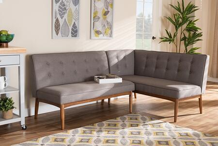 BBT8051-GREY-2PCSFBENCH Arvid Mid-Century Modern Gray Fabric Upholstered 2-Piece Wood Dining Corner Sofa