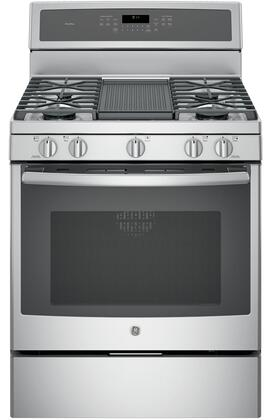 GE Profile  PGB911ZEJSS Freestanding Gas Range Stainless Steel, Main View with Grill