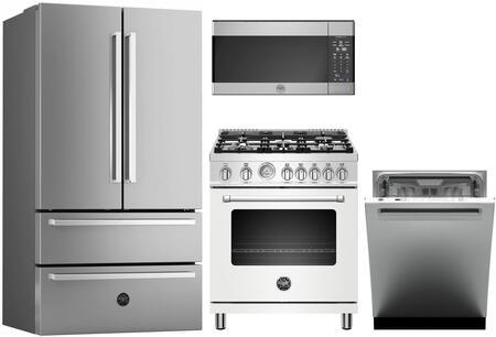 4 Piece Kitchen Appliances Package with REF36X 36″ French Door Refrigerator  MAST305GASBIE 30″ Gas Range (Matte White)  KOTR30X 30″ Over the Range