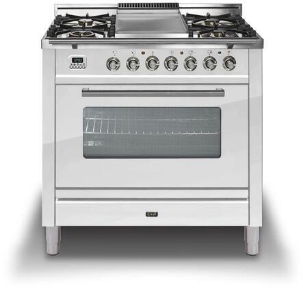 Ilve Professional Plus UPW90FDVGGBXLP Freestanding Gas Range White, Ilve Professional Plus Gas Range