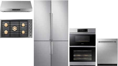 5 Piece Kitchen Appliances Package with 42″ French Door Refrigerator  36″ Gas Cooktop  36″ Wall Mount Ducted Hood  30″ Electric Double Wall Steam
