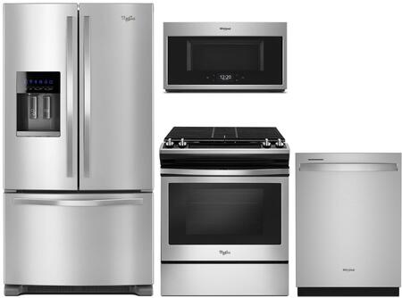 4 Piece Kitchen Appliances Package with WRF555SDFZ 36″ French Door Refrigerator  WEG515S0FS 30″ Slide-in Gas Range  WMHA9019HZ 30″ Over the Range