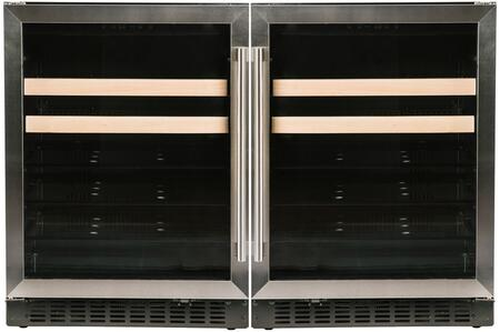 """48"""" Stainless Steel Side-by-Side Beverage Center with A124BEVS 24"""" Left Hinge Beverage Center and A124BEVS 24"""" Right Hinge Beverage"""