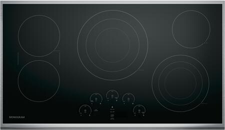 """Monogram  ZEU36RSJSS Electric Cooktop Black, ZEU36RSJSS 36"""" Touch Control Electric Cooktop"""