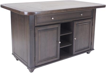 CY-KITT02-AG Shades of Gray Collection Kitchen Island with Cabinet Doors  Storage Drawer  Multiple Shelves  Wood Construction  Simple Pull