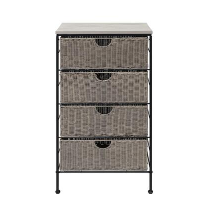 266070 Autumn Grey 4 Drawer Chest W/Wood Top  in Grey Wicker and Black