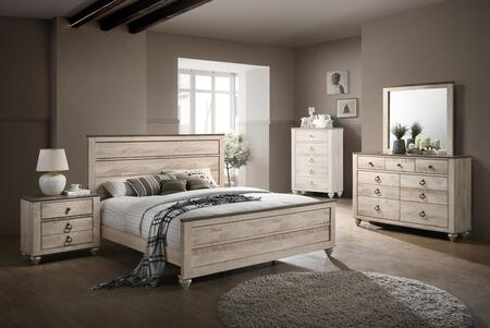 Hudson Collection HU845QNMDR 4-Piece Bedroom Set with Queen Bed  Nightstand  Mirror and Dresser in Antique Walnut