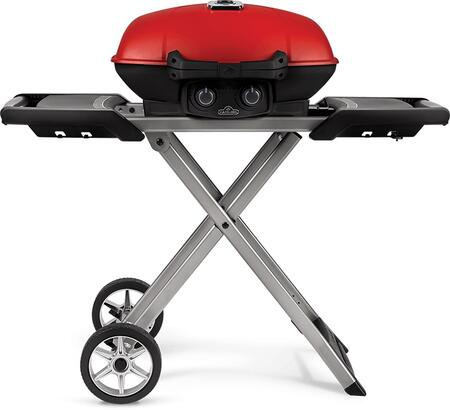 TQ285X-RD-1-A 45″ TravelQ Series Portable Grill with Scissor Cart  Griddle  12000 BTU  2 Burners  285 sq. in. Cooking Area and Instant Jetfire