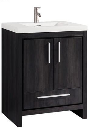 Miami Collection MTD-YBC306-30BW 30″ Single Sink Bathroom Vanity Set in Black
