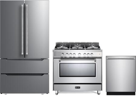 3 Piece Kitchen Appliances Package with VERF36CDSS 36″ French Door Refrigerator  VPFSGG365SS 36″ Gas Range  and VEDW24TSS 24″ Built In Dishwasher in