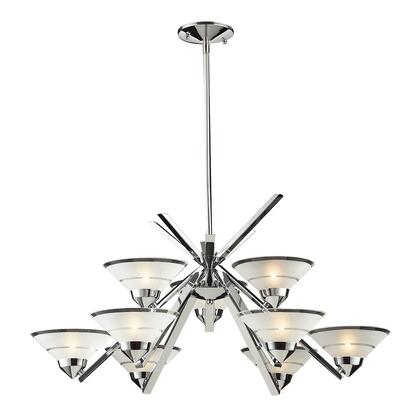 1476/6+3 Refraction 6+3-Light Chandelier in Polished Chrome with Satin