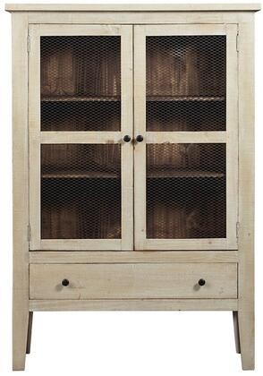 Isabella Collection A518-20 42″ Display Cabinet with Two Fixed Shelves in Cabinet Interior in Washed Linen and Pine