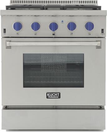 KRG3080U-B 30″ Professional-Class Natural Gas Range with 4.2 cu. ft. Convection Oven  4 Top Burners  Blue Porcelain Interior and High Quality Control