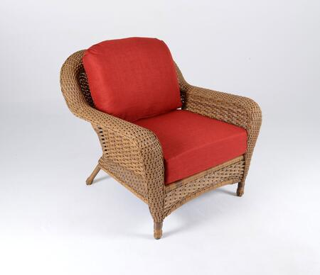 Sea Pines Collection LEX-C1-M-RAVEC Club Chair in Mojave Wicker and Rave Cherry Fabric