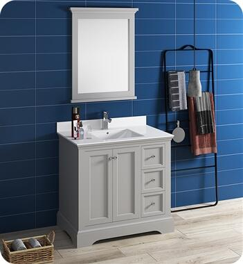 Windsor Collection FVN2436GRV 36″ Grey Textured Traditional Bathroom Vanity with