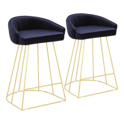 Canary Collection B26-CNRYUPAUBU2 Set of 2 Counter Height Stool with Upholstered Seat/Backrest  Luxe Contemporary Style  Cage-Like Gold Tone Metal