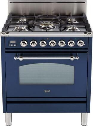 Ilve Nostalgie UPN76DVGGBLX Freestanding Gas Range Blue, Main Image
