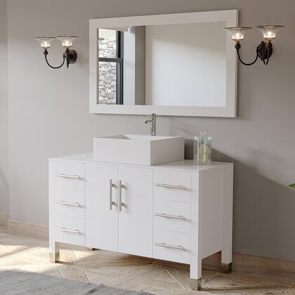 8116W 48″ White Wood and Porcelain Single Vessel Bathroom Vanity Set Chrome