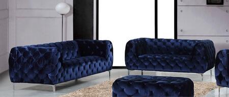 Meridian Mercer 646NAVYSL Living Room Set Blue, 2 PC Set