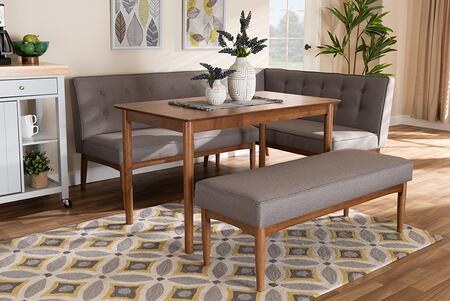 BBT8051-GREY/WALNUT-4PCDININGNOOKSET Arvid Mid-Century Modern Gray Fabric Upholstered 4-Piece Wood Dining Nook