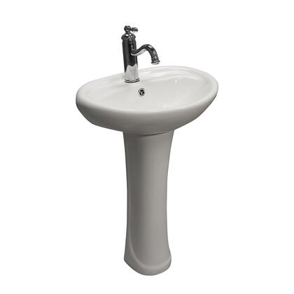 3-9161WH Ashley Pedestal with 1 Faucet Hole  Overflow