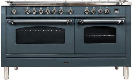 Ilve Nostalgie UPN150FDMPGUXLP Freestanding Dual Fuel Range Blue Grey, Blue Grey Dual Fuel Range