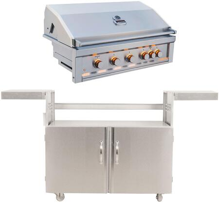 RUBY5B-IR-NG 42″ Ruby Series Freestanding Natural Gas Grill with 4 I-Burners  1 Pro Sear Burner  Halogen Lighting  Rotisserie  and Drip Tray  in