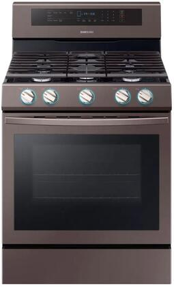 Samsung NX58R6631ST Freestanding Gas Range Tuscan Stainless Steel, NX58R6631ST Front View with LED On