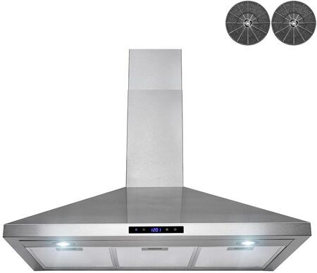 RH0449 36″ Convertible Wall Mount Range Hood with 343 CFM  LED Lighting  Mesh Filters and Touch Controls in Stainless